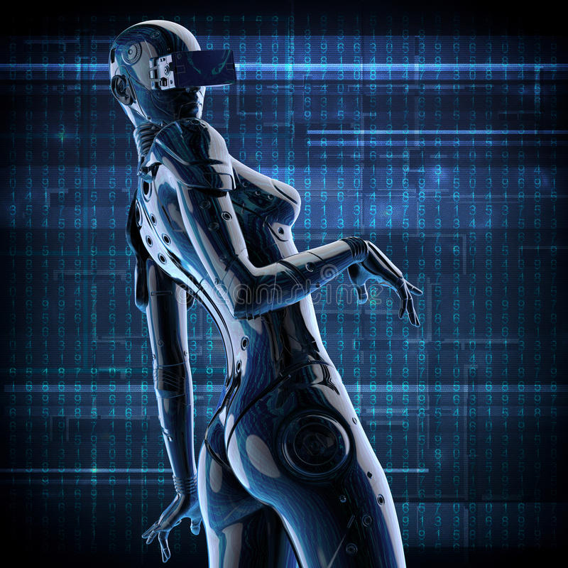 3D illustration. The stylish chromeplated cyborg the woman. vector illustration