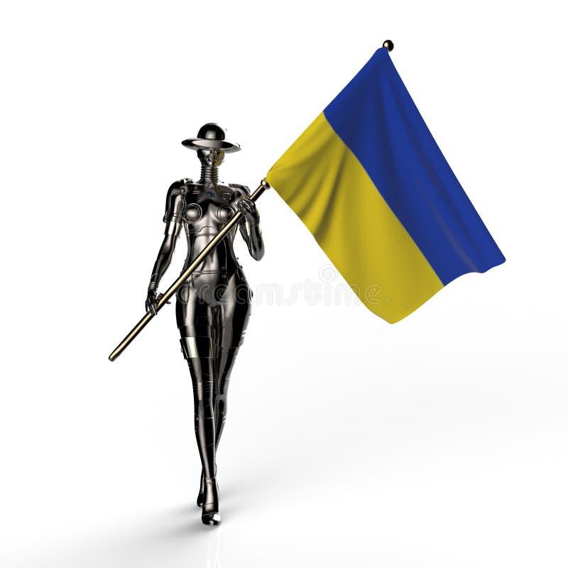 3D illustration. The stylish cyborg the woman. 3D illustration. The stylish cyborg the woman with flag of Ukraine. Futuristic fashion android royalty free illustration