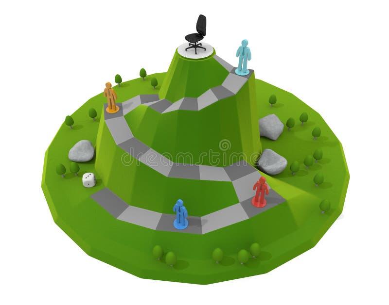3D illustration. Successful board game. Businessman piece. royalty free illustration
