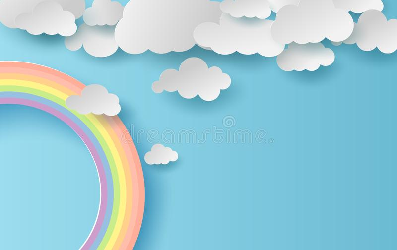 3D illustration summer season landscape with a rainbow on blue sky background. Cloudscape on Clean and minimal paper art.Creative royalty free illustration