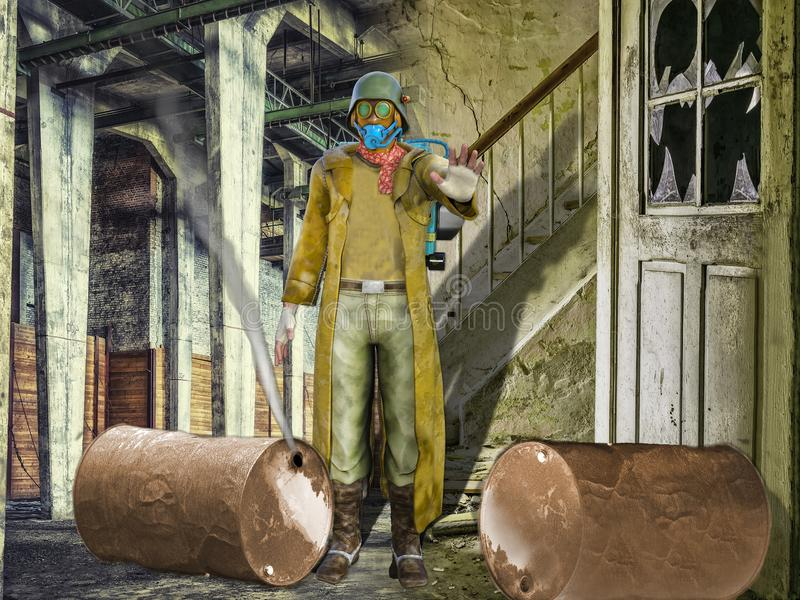 3D Illustration of a Survivor in a Dark Moody Dystopian Scene. With Leaking Gas Canisters stock illustration
