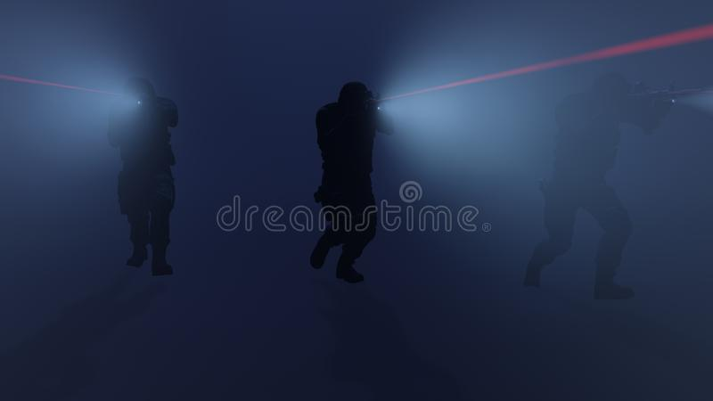 3d illustration of a swat team in action with the flashlights and laser sights on stock illustration