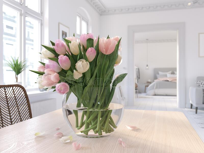 3D-Illustration. table with tulips in modern living room stock photo