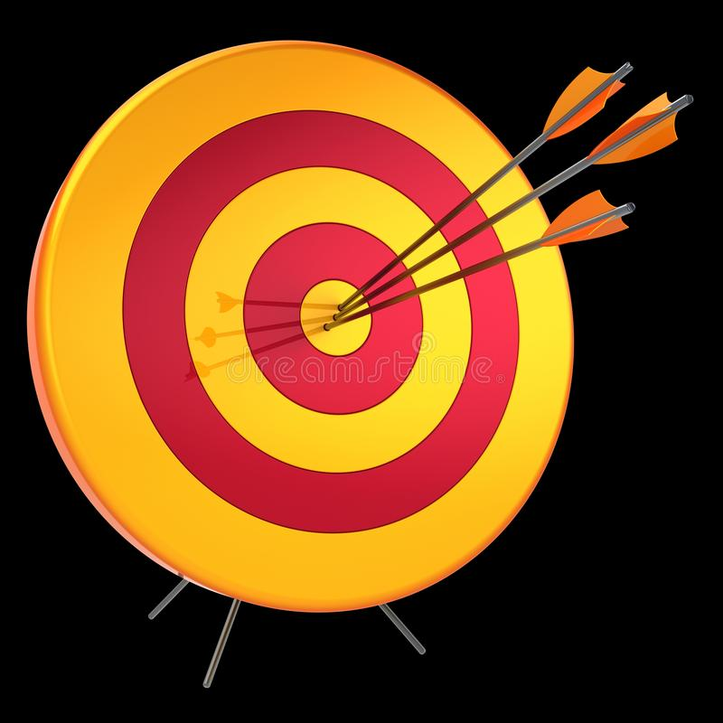 3d illustration of target arrows success shooting accuracy hitting royalty free illustration
