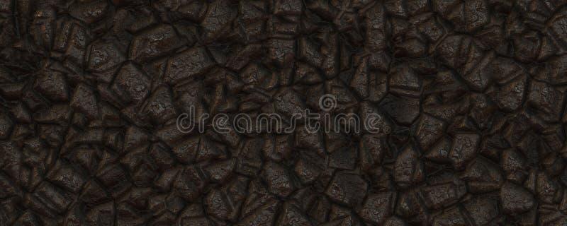 3d illustration texture de pierre noire fractale illustration libre de droits