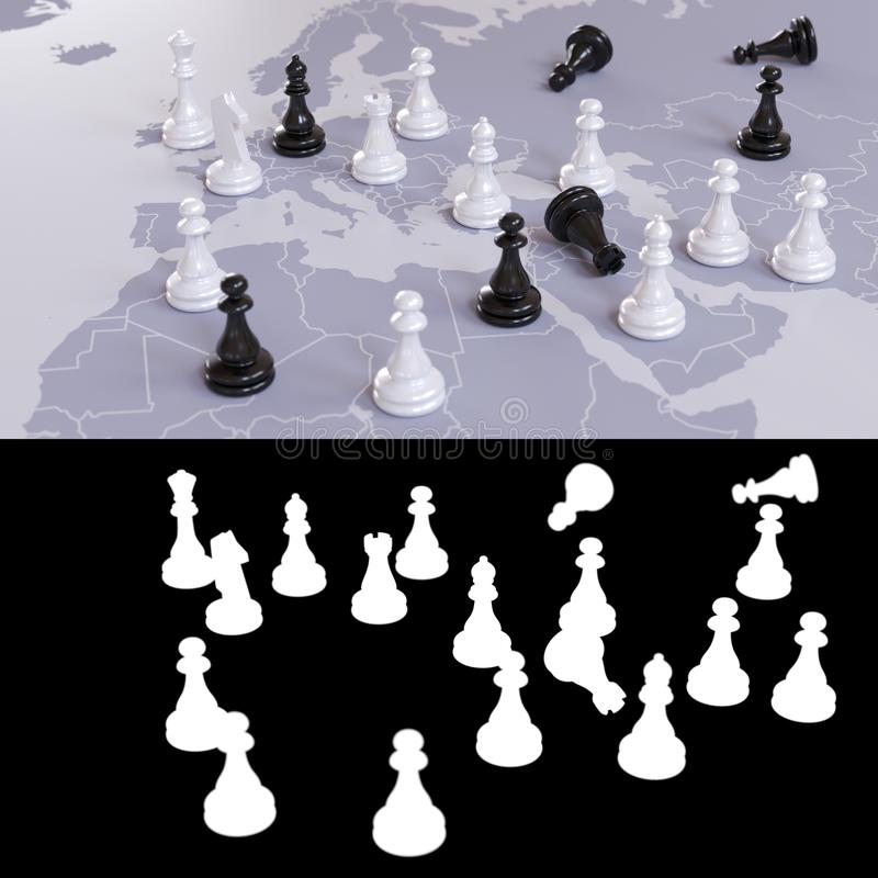 Geopolitical chess game royalty free stock photography