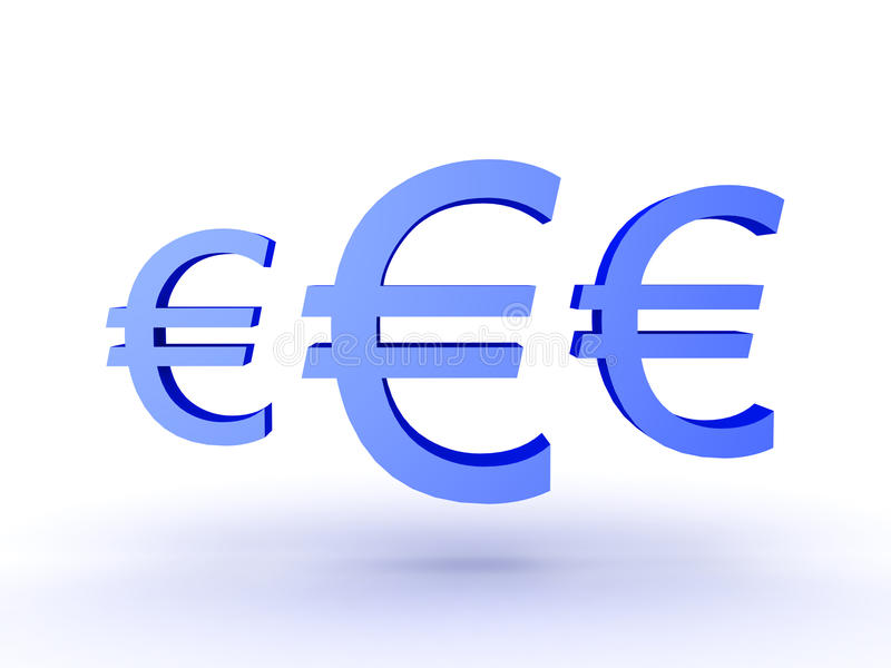 3d Illustration Of Three Blue Euro Currency Symbols Stock