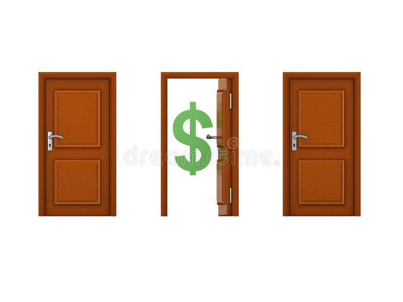3D illustration of three doors with one being open and has dollar symbol royalty free illustration