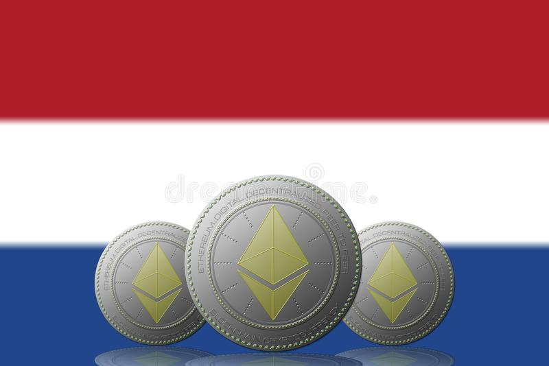 3D ILLUSTRATION Three ETHEREUM cryptocurrency with Netherlands flag on background.  vector illustration