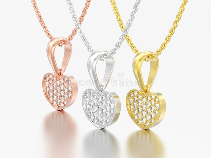 3D illustration three jewelry red rose yellow white gold or silver diamond heart necklaces on chain royalty free illustration