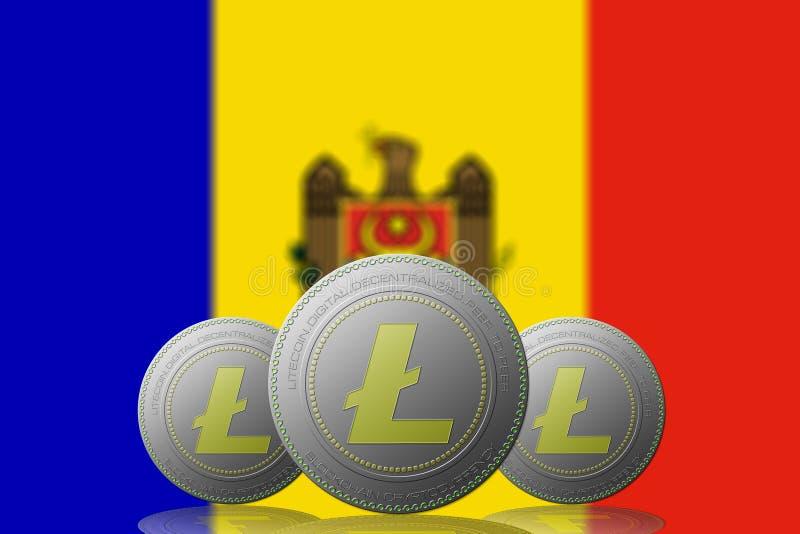 3D ILLUSTRATION Three LITECOIN cryptocurrency with Moldova flag on background.  stock illustration