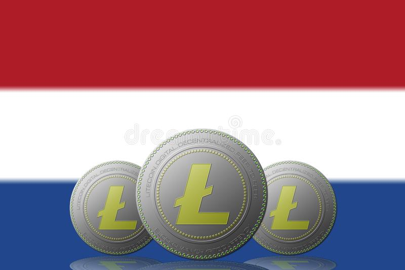 3D ILLUSTRATION Three LITECOIN cryptocurrency with Netherlands flag on background.  vector illustration