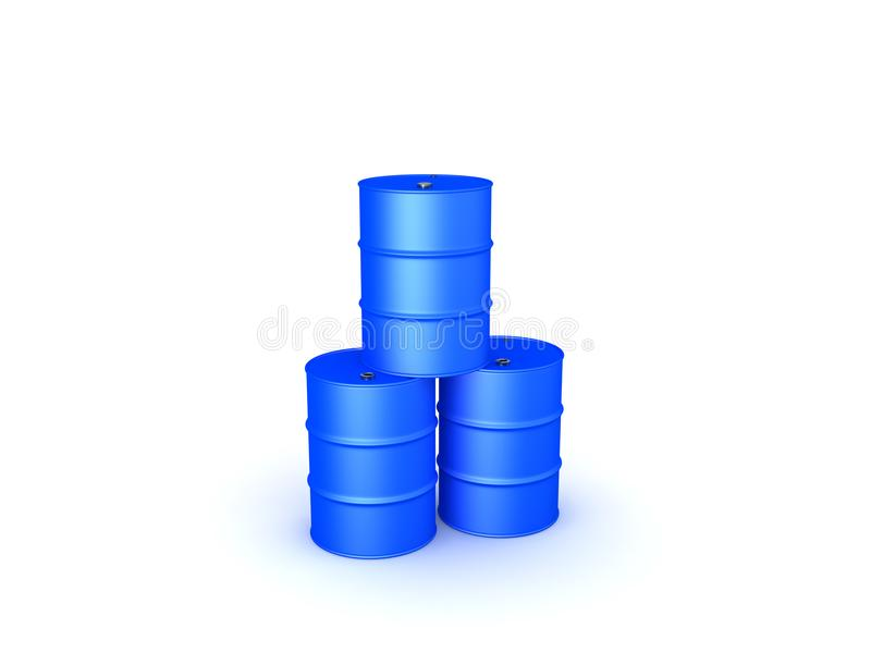 3D illustration of three oil barrels stacked on top of each other stock illustration