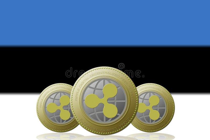 3D ILLUSTRATION Three RIPPLE cryptocurrency with Estonia flag on background.  stock illustration