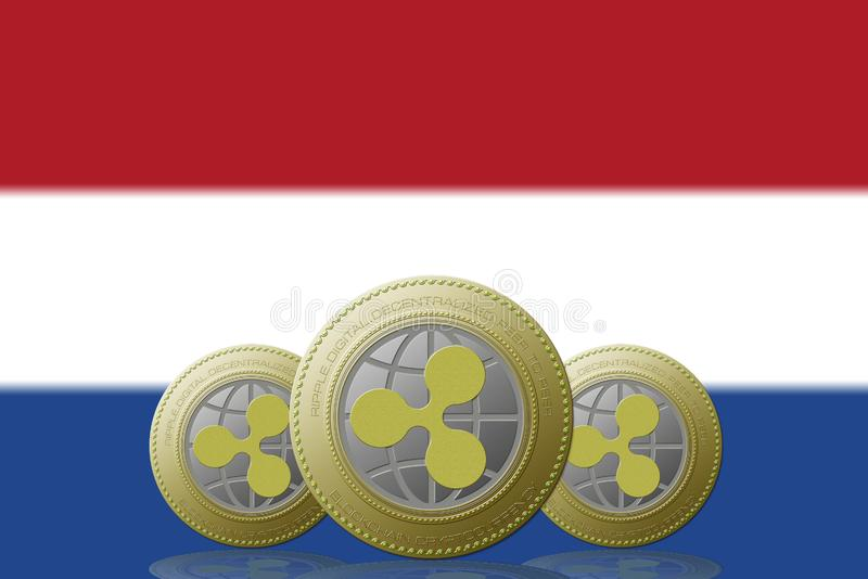 3D ILLUSTRATION Three RIPPLE cryptocurrency with Netherlands flag on background.  vector illustration