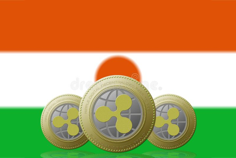 3D ILLUSTRATION Three RIPPLE cryptocurrency with Niger flag on background.  vector illustration