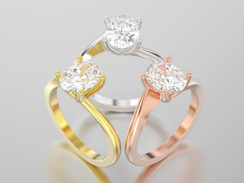 3D illustration three yellow, rose and white gold or silver royalty free illustration