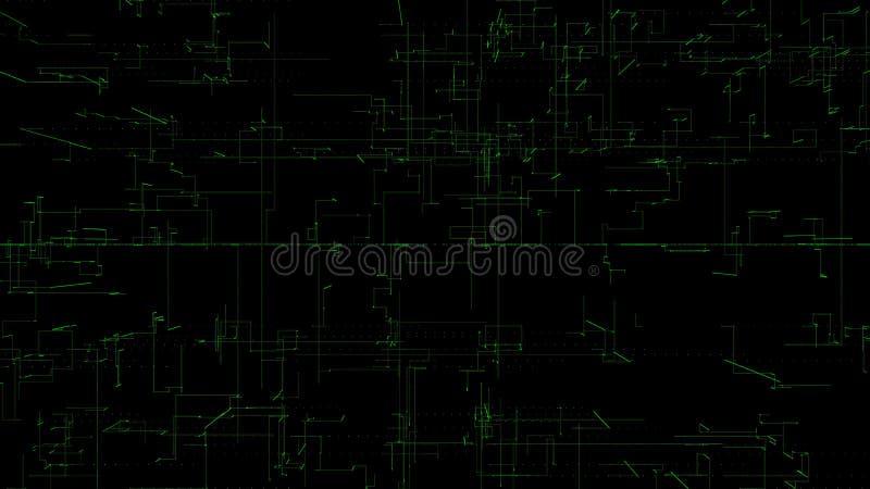 3D illustration, 3D tolkning, abstrakt geometrisk bakgrund, grön linje teknologi, diagram för arkitektonisk design, Big Data vektor illustrationer