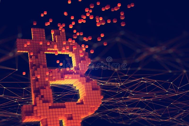 Blockchain. Bitcoin symbol. Futuristic concept of mining cryptocurrency. 3D illustration of the topic of Blockchain. Bitcoin symbol consisting of separate stock illustration