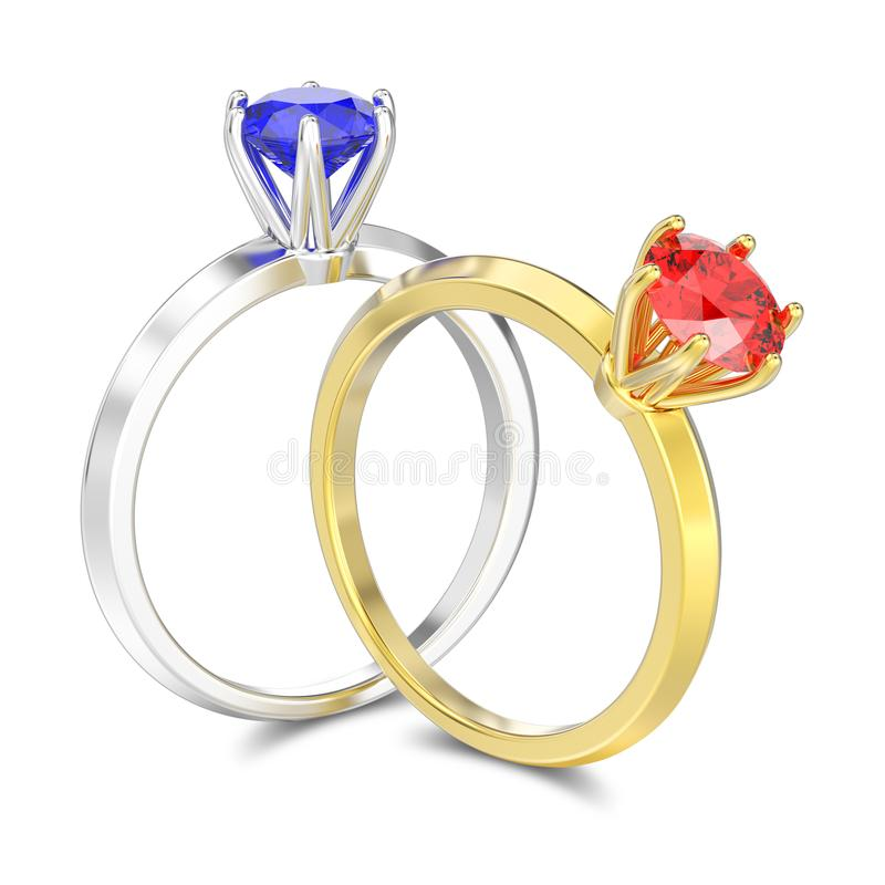 3D illustration tow isolated silver sapphire and gold ruby traditional solitaire engagement diamond rings with shadow vector illustration