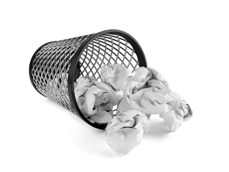 Download Trash Bin Dropped With Crumpled Paper Stock Illustration - Illustration of basket, business: 105241617