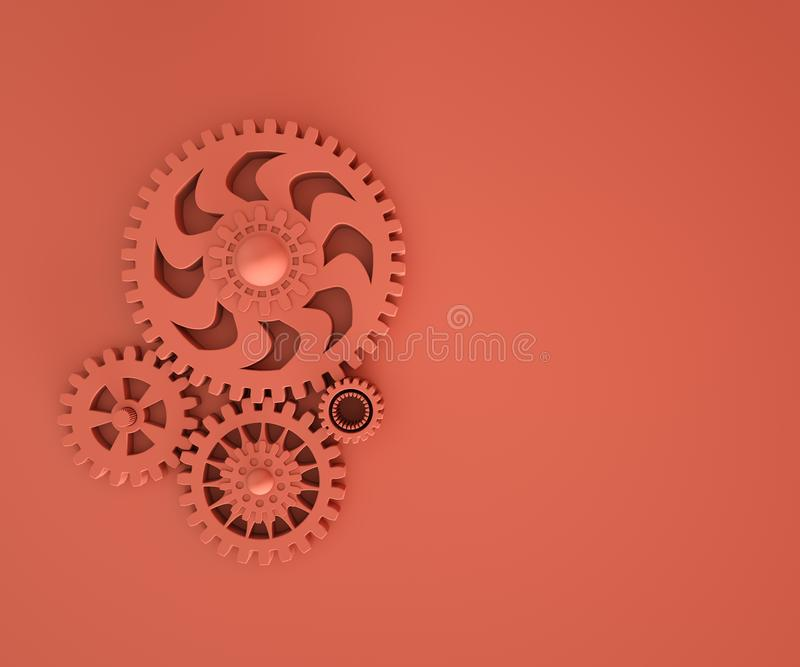3d illustration of trendy living coral gears. Monochrome. Industry development, engine work, business solution, construction. 3d illustration of trendy living vector illustration