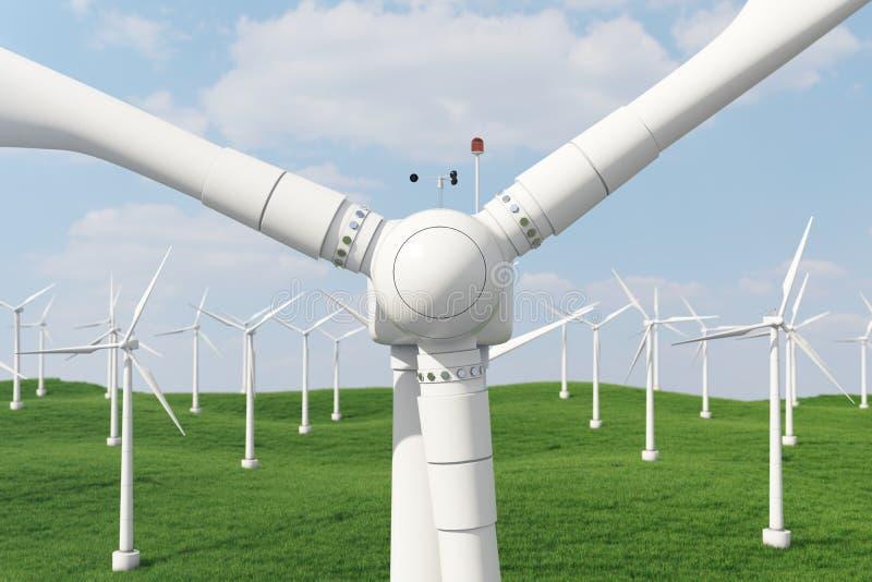 3d Illustration, Turbine auf dem Gras Alternative Stromquelle des Konzeptes Eco-Energie, saubere Energie stock abbildung