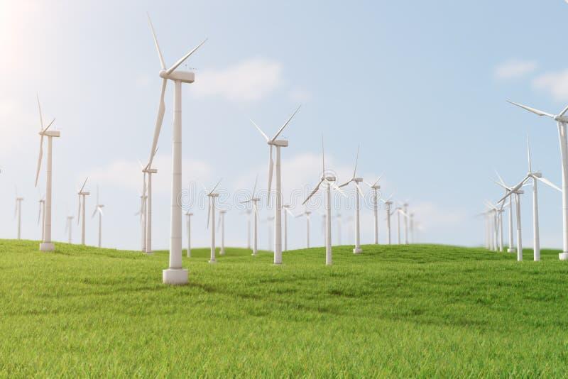 3d Illustration, Turbine auf dem Gras Alternative Stromquelle des Konzeptes Eco-Energie, saubere Energie vektor abbildung