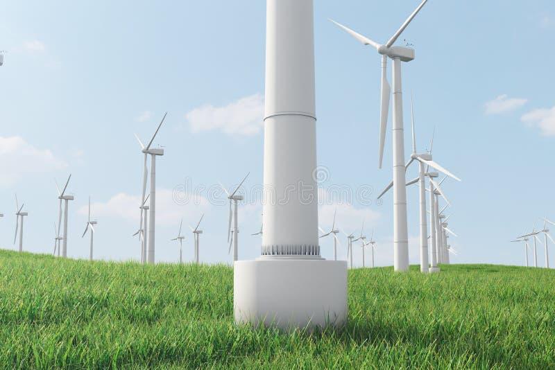 3d Illustration, Turbine auf dem Gras Alternative Stromquelle des Konzeptes Eco-Energie, saubere Energie lizenzfreie abbildung