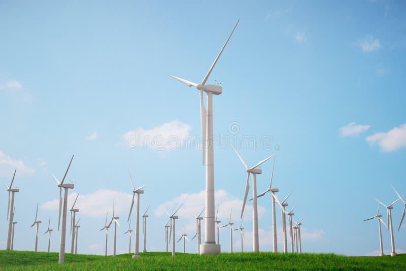 3d Illustration, Turbine auf dem Gras mit blauem Himmel Alternative Stromquelle des Konzeptes Eco-Energie, saubere Energie lizenzfreie abbildung