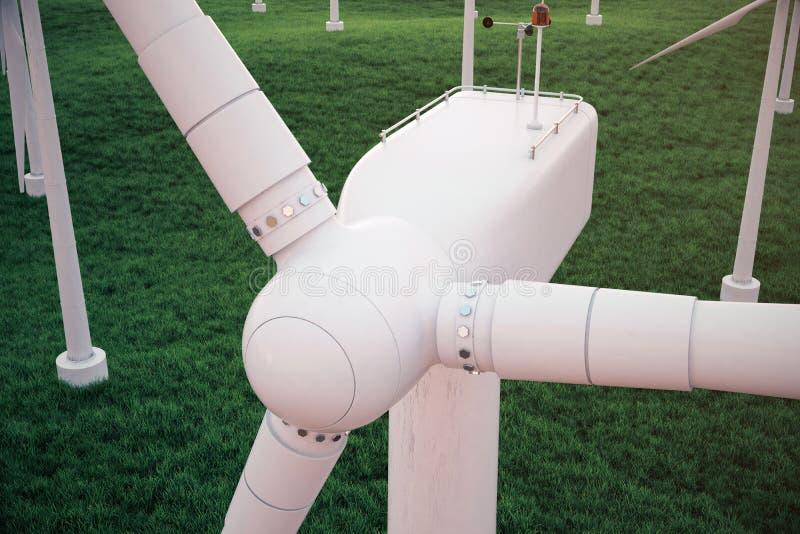 3d Illustration, Turbine auf dem Gras mit Sonnenunterganghimmelhintergrund Alternative Stromquelle des Konzeptes Eco Energie lizenzfreie abbildung