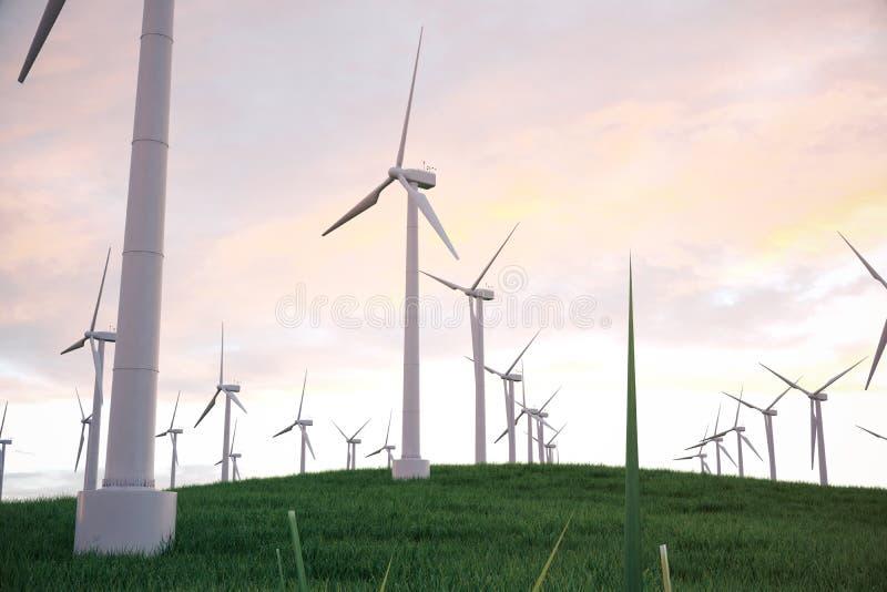 3d Illustration, Turbine auf dem Gras mit Sonnenunterganghimmelhintergrund Alternative Stromquelle des Konzeptes Eco Energie stock abbildung