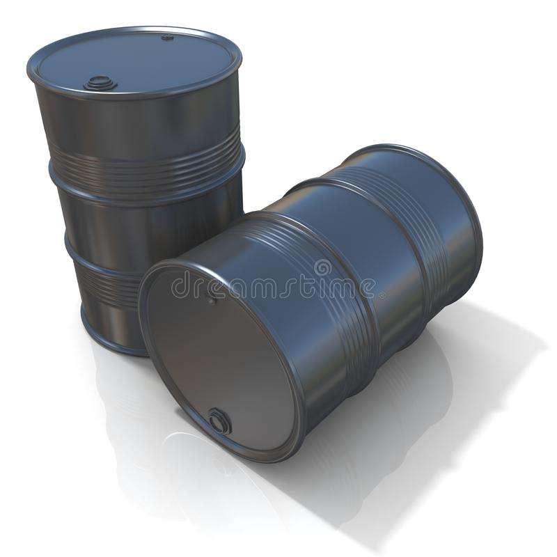 3D illustration of two black oil barrels vector illustration