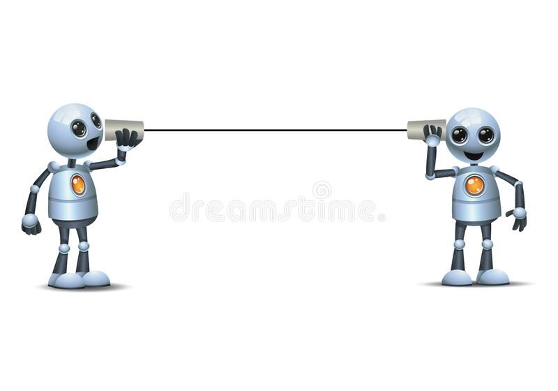 3d illustration of two little robot doing business communication using paper cup phone royalty free illustration