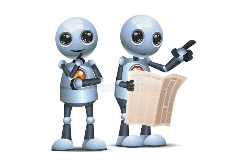3d illustration of two little robot hold pamflet pointing in one direction communication ilustração royalty free