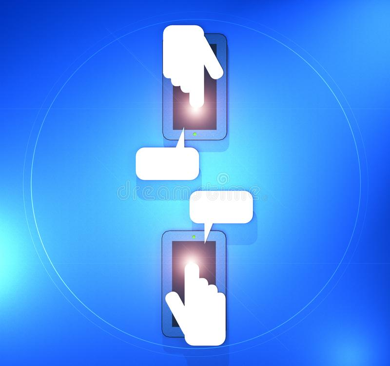 A 3D Illustration of two mobile phones with hands and fingers texting stock illustration
