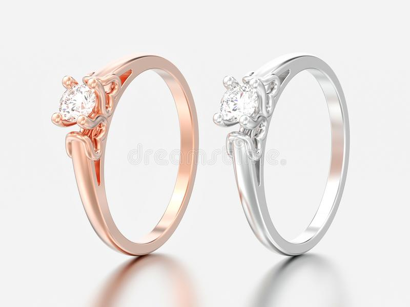 3D illustration two rose and white gold or silver solitaire wedding diamond rings with heart prongs stock photos