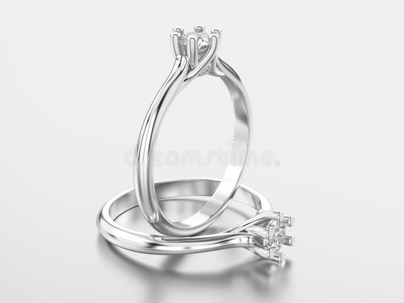 3D illustration two white gold or silver classic ring with diamonds with reflaction royalty free illustration
