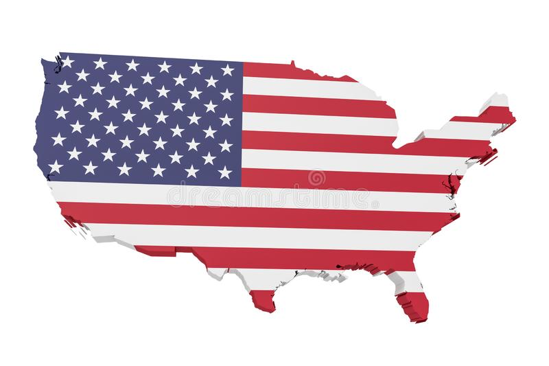 3d Illustration of USA Map With US Flag On White Background vector illustration