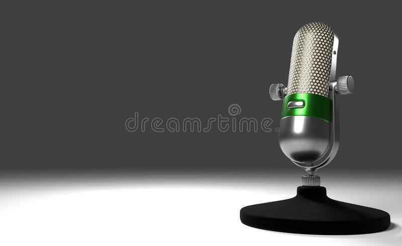 3d illustration Vintage Metal Microphone with green ring standing on a white desk.  stock illustration