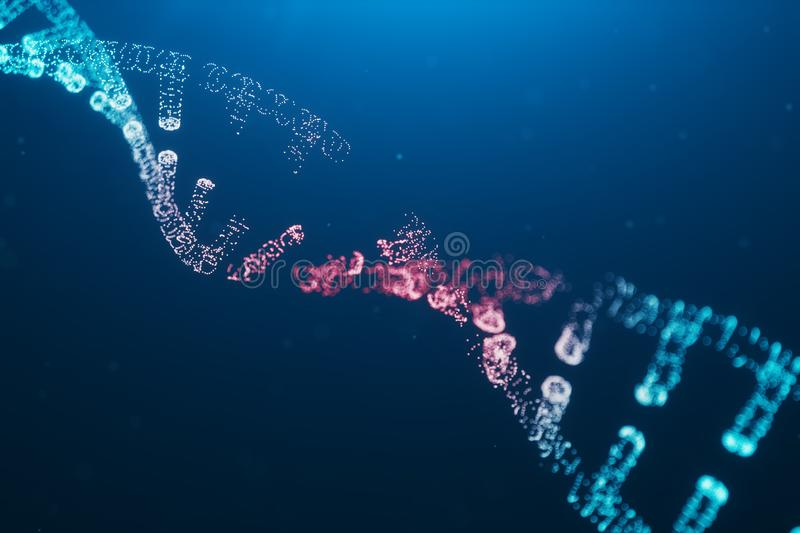 3D illustration Virus DNA molecule, structure. Concept destroyed code human genome. Damage DNA molecule. Helix stock illustration