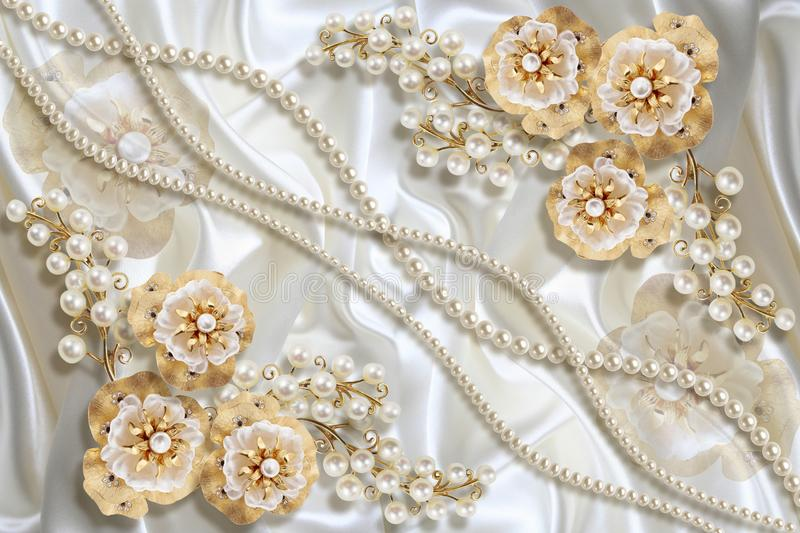 3D wallpaper texture, Jewelry flowers and white pearls on silk. Celebration 3d background. stock illustration