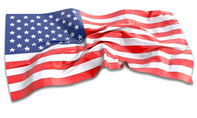 3d illustration of waving American Flag vector illustration
