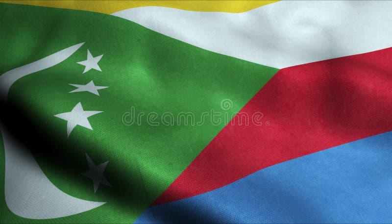 Comoros Waving Flag in 3D royalty free illustration