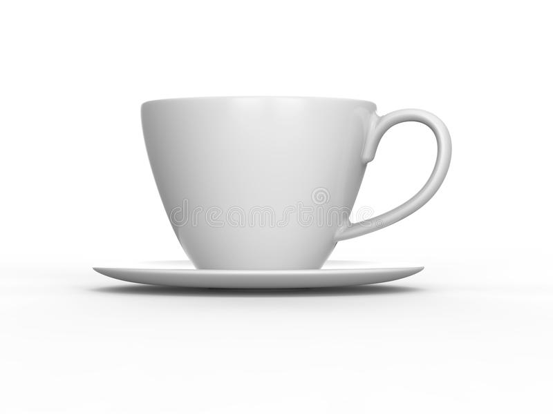 3D illustration white cup and saucer stock illustration