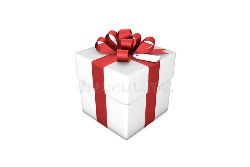 3d illustration: White gift box with red silk ribbon / bow and tag on a white background isolated. 3d illustration: White gift box with red silk ribbon / bow royalty free illustration