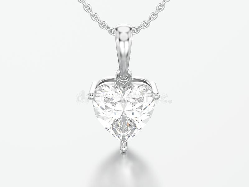 3D illustration white gold or silver big heart diamond necklace royalty free illustration