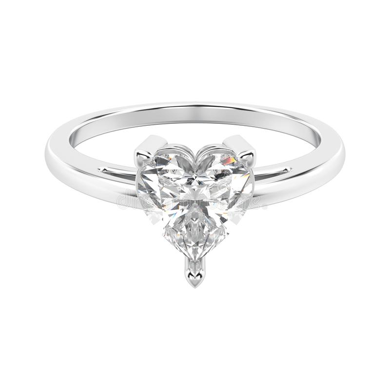 3D illustration white gold or silver engagement ring wi stock illustration