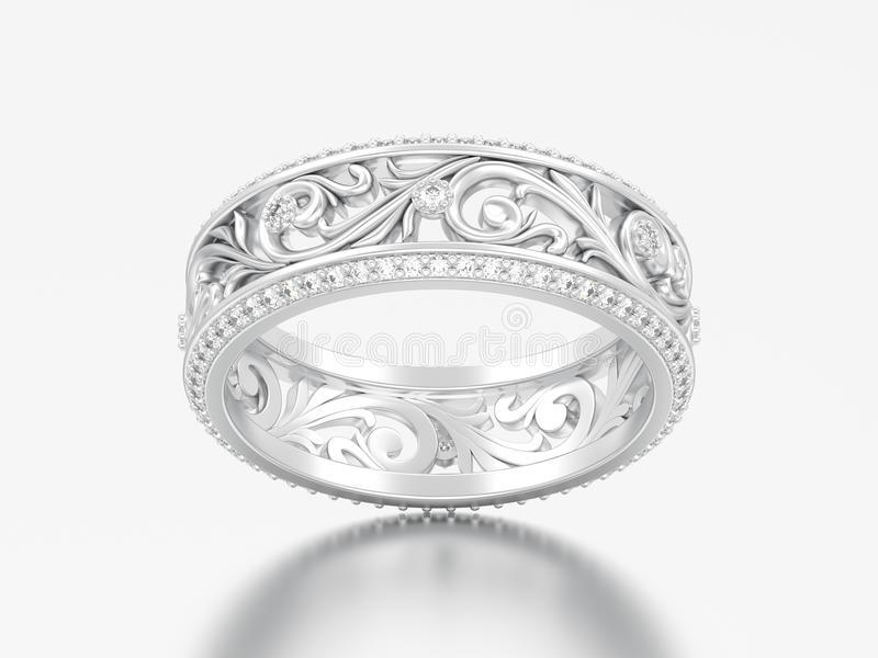 3D illustration white gold or silver engagement wedding band ring with curve out ornament royalty free illustration