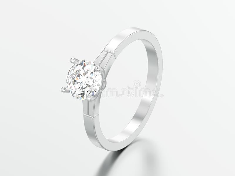 3D illustration white gold or silver traditional solitaire engagement diamond ring stock illustration